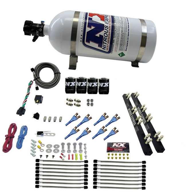 8 Solenoids and 15 lbs Bottle Nitrous Express 90008-15 200-1200 HP Gasoline Shark Dual Stage Direct Port System with 16 Nozzles